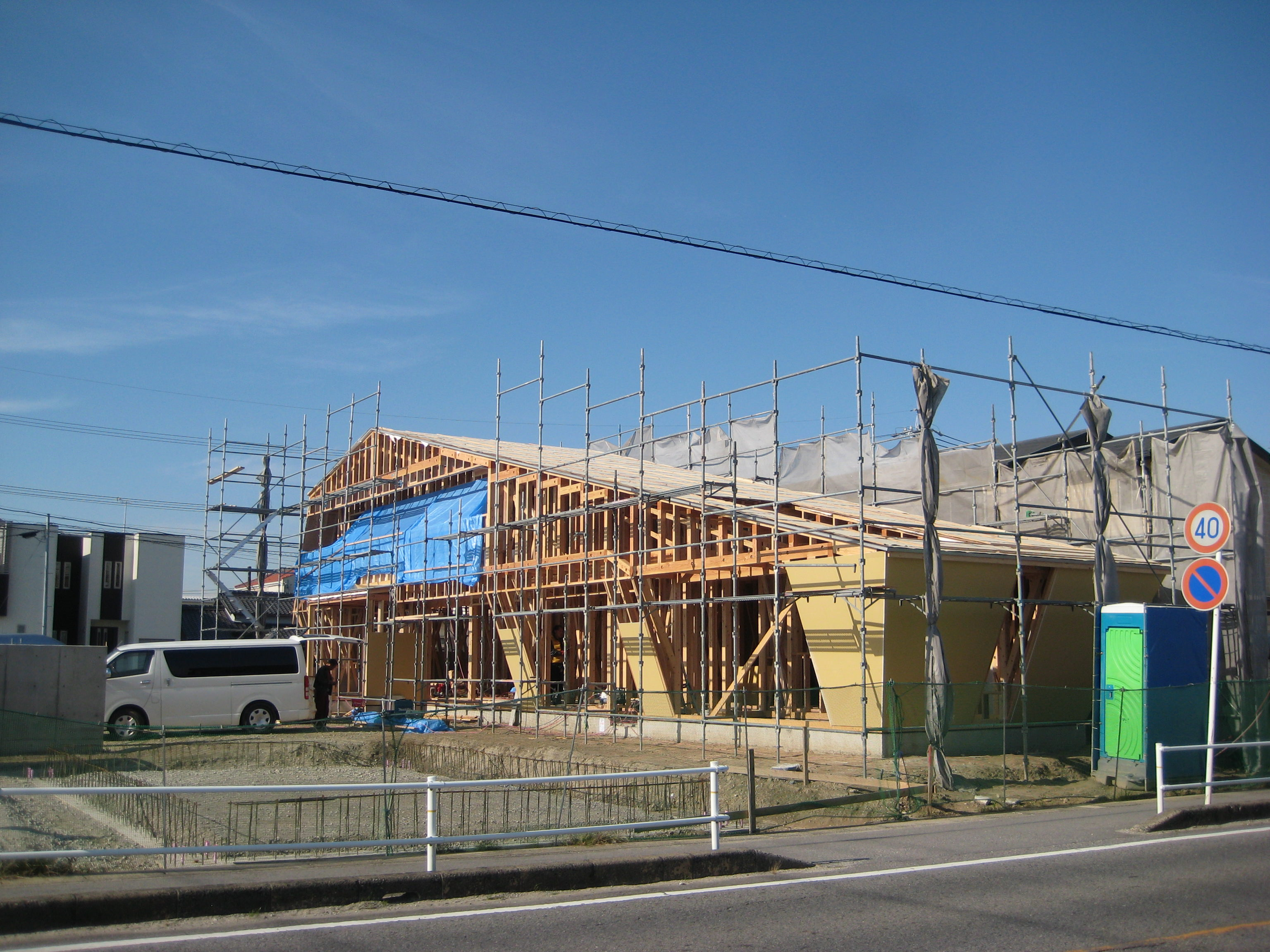 愛知県西尾市「白珪の家」木造+鉄骨造 上棟