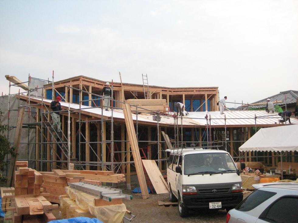 岐阜県各務ヶ原市「緑苑の家」木造住宅 上棟