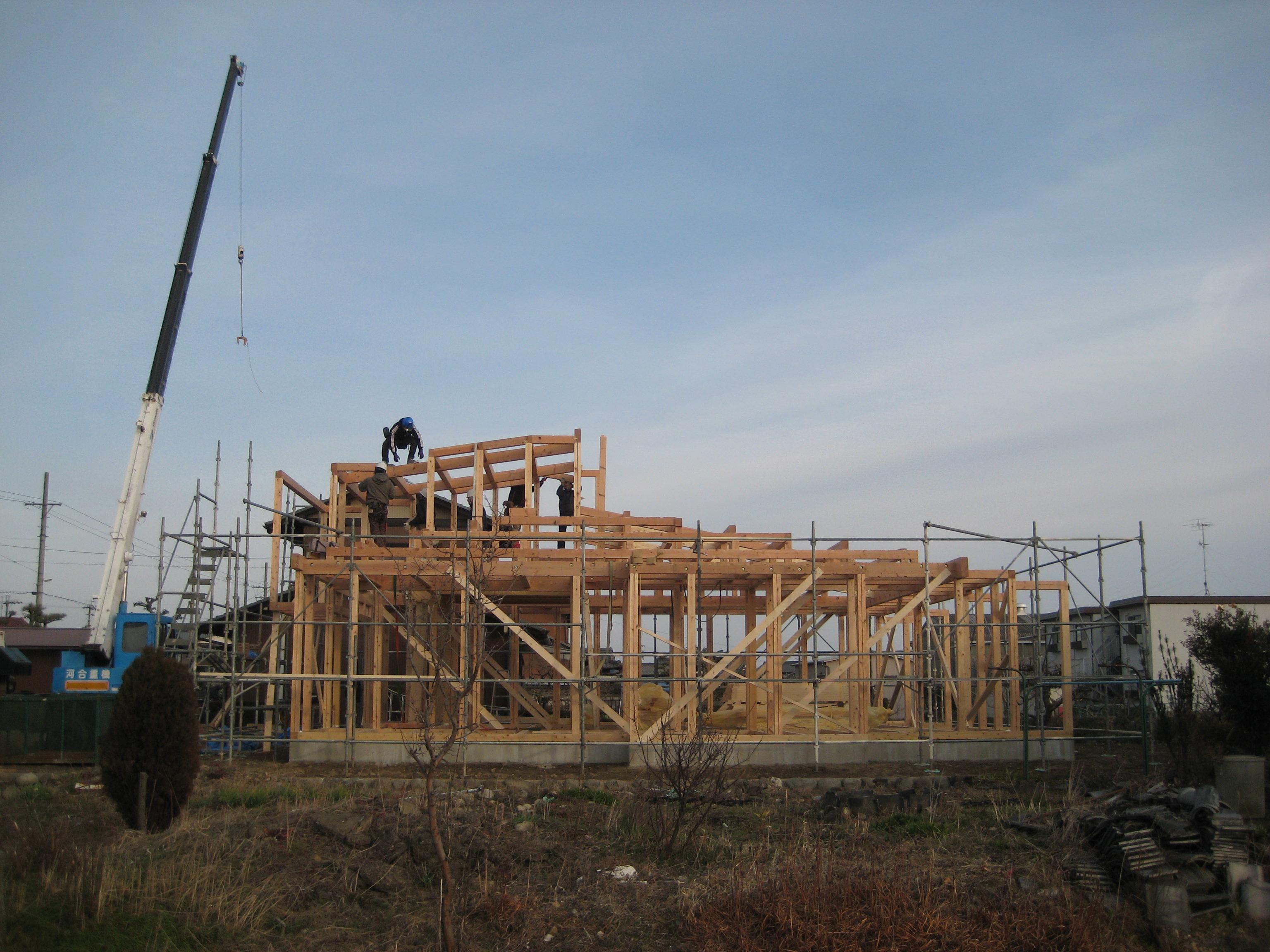 岐阜県羽島市「回光の家」木造住宅 平屋建て 上棟