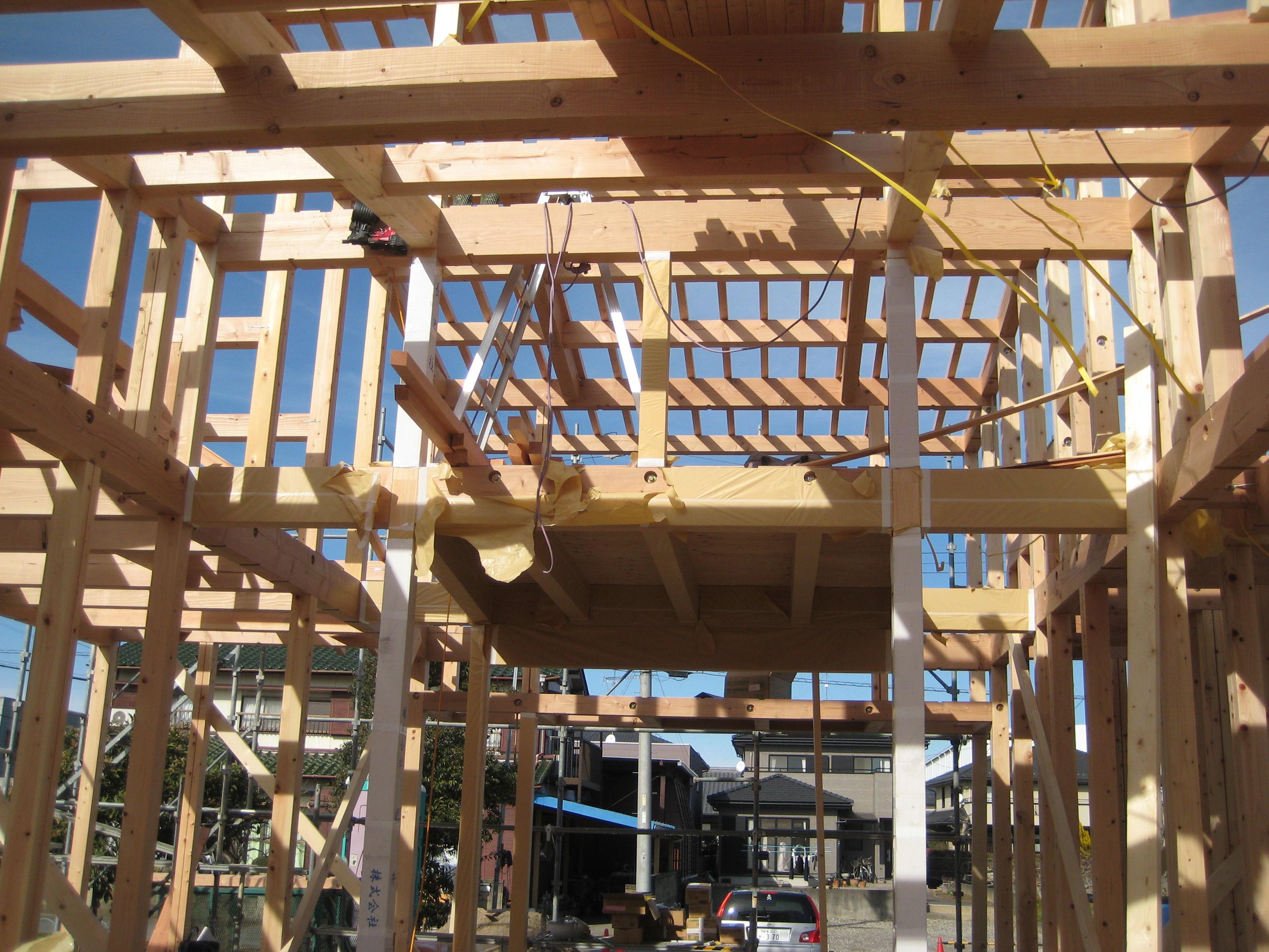岐阜県羽島市「回光の家」木造住宅 平屋建て 上棟2