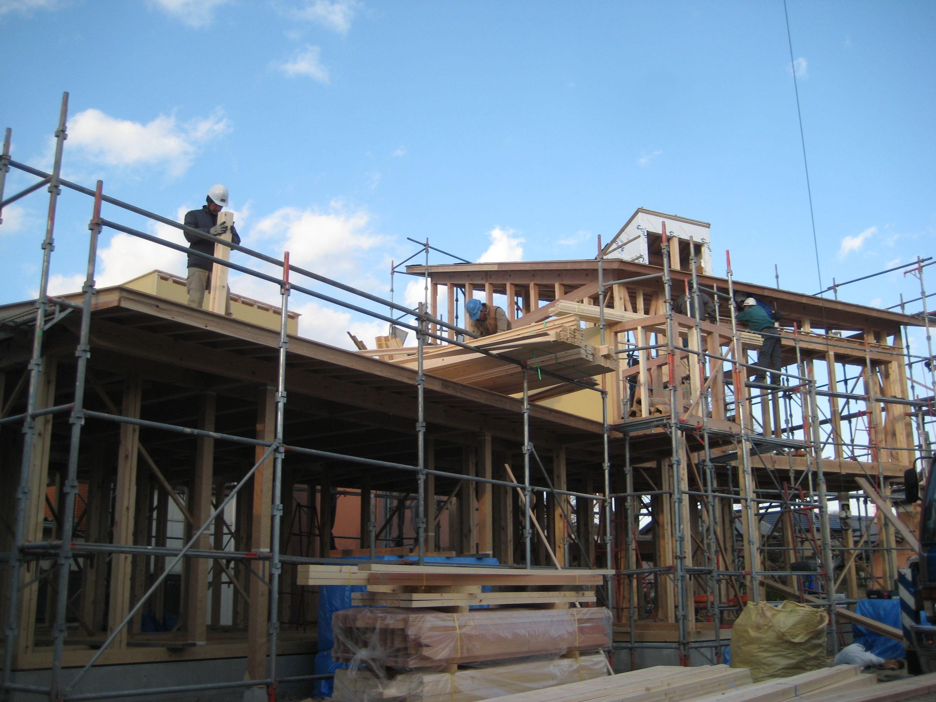 岐阜県養老町「下笠の家」木造住宅 建方