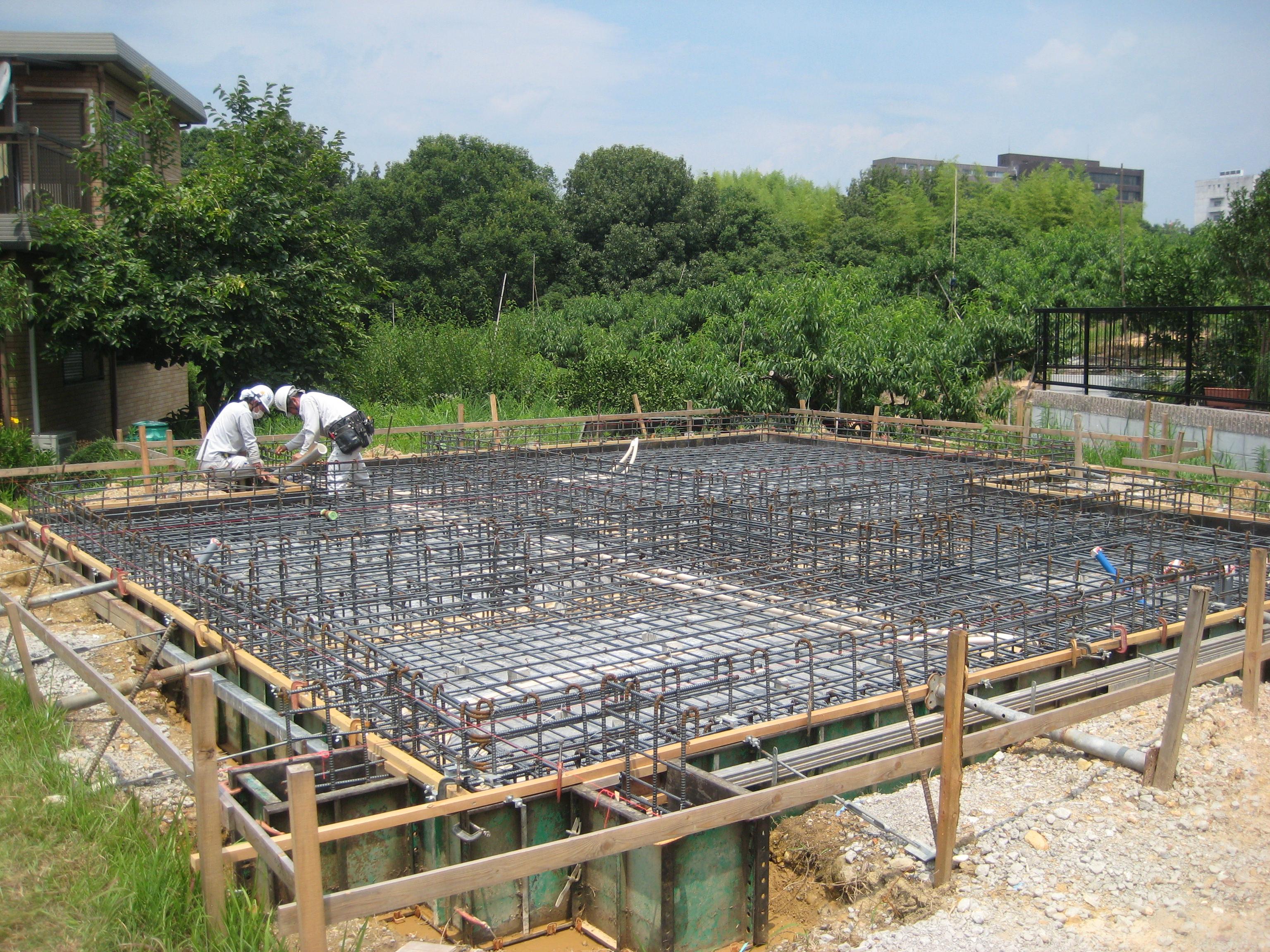 愛知県犬山市「つつじヶ丘の家」木造住宅2階建 2世帯+ヨガ教室 配筋検査