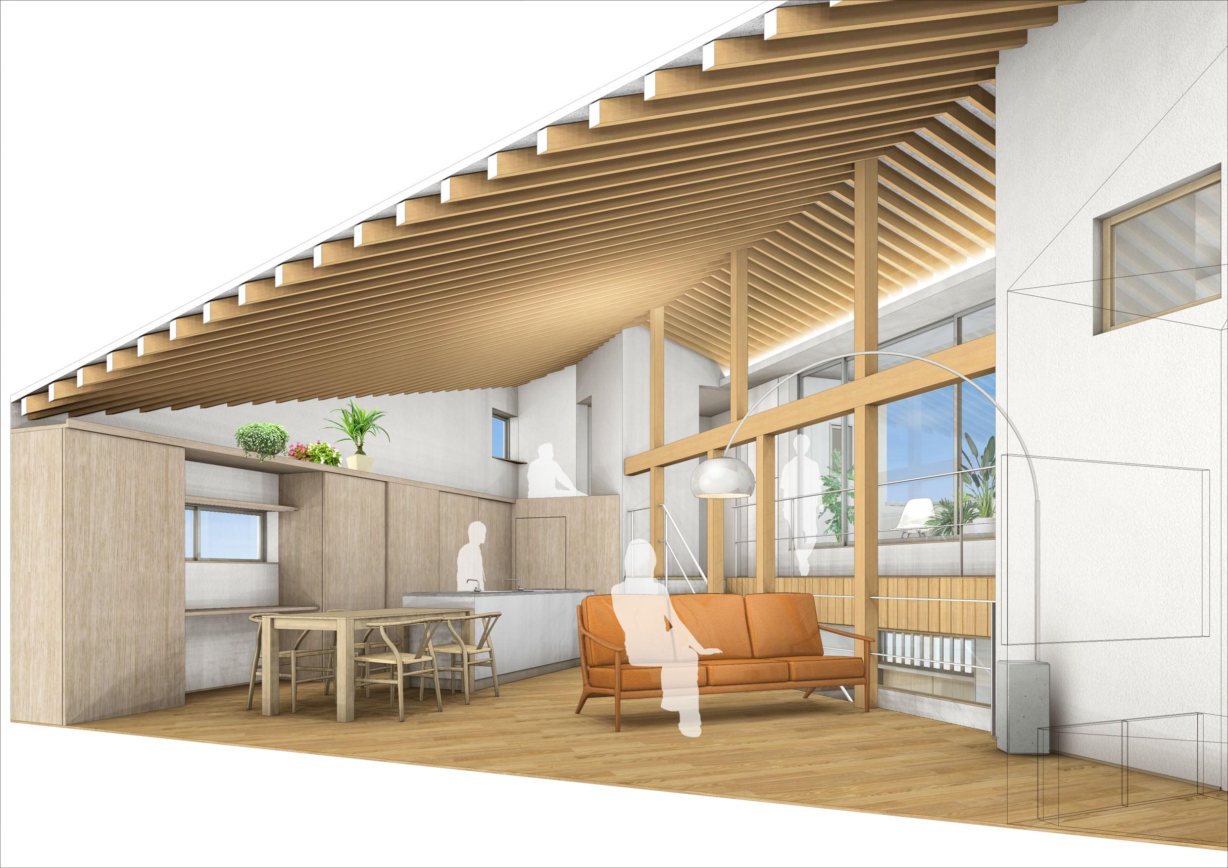 愛知県安城市「塔元の家」木造2階建 スキップフロア パース