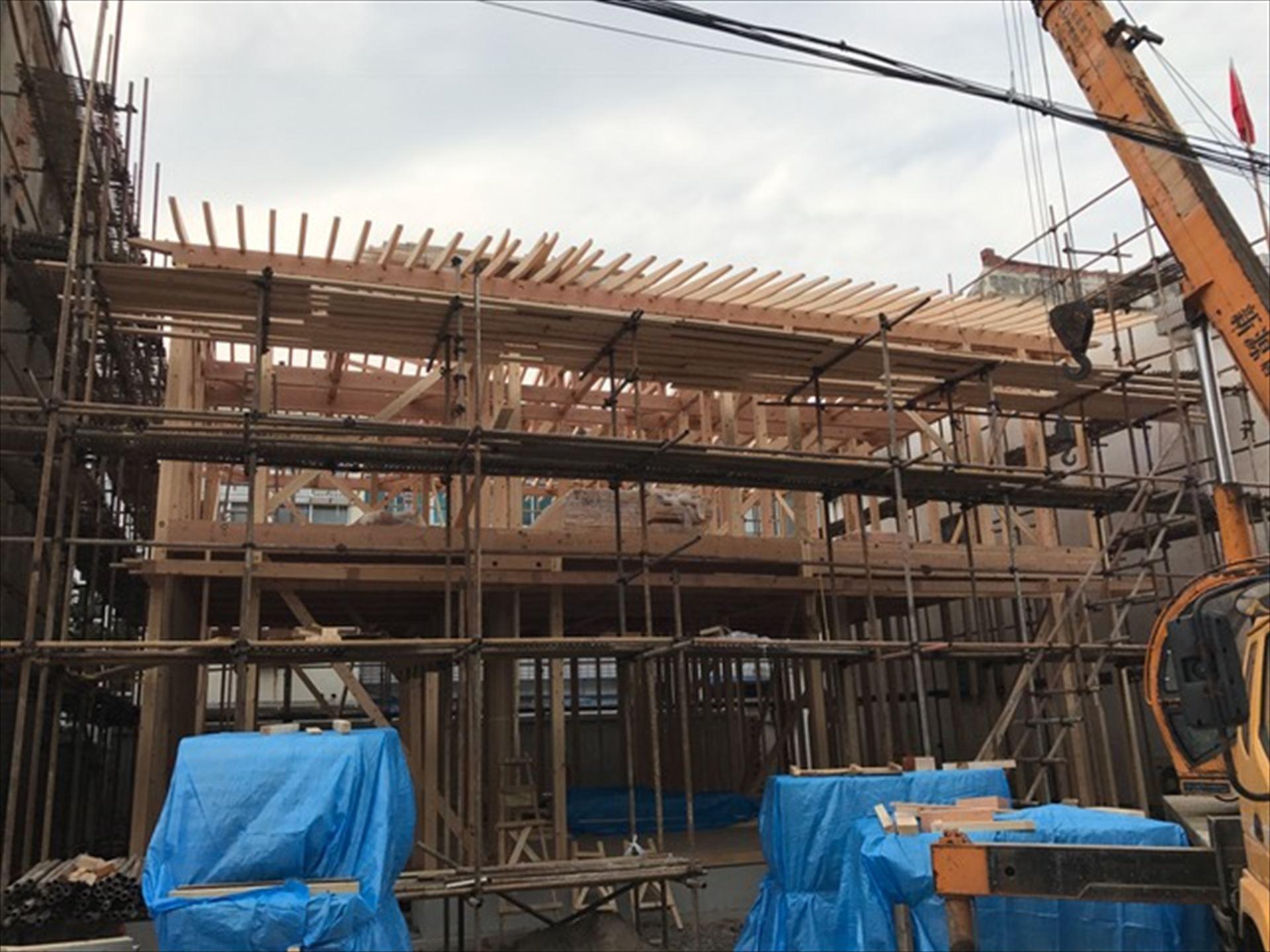 中国 「張家港の家」 木の家 上棟