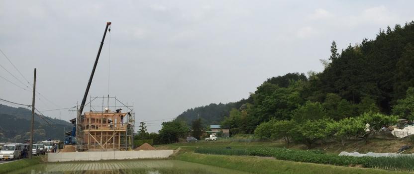 岐阜県山県市「梅原の家」木造2階建て ガレージハウス 上棟