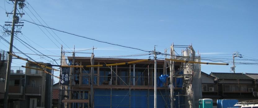 愛知県あま市甚目寺「大渕の家」木造2階建 2世帯 上棟