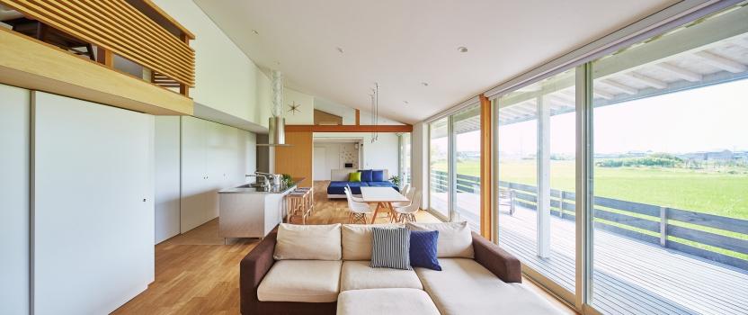 愛知県一宮市 「川原の家」木造住宅 平屋建ガレージハウス 竣工写真1