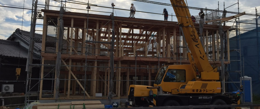 愛知県安城市「塔元の家」木造2階建 上棟