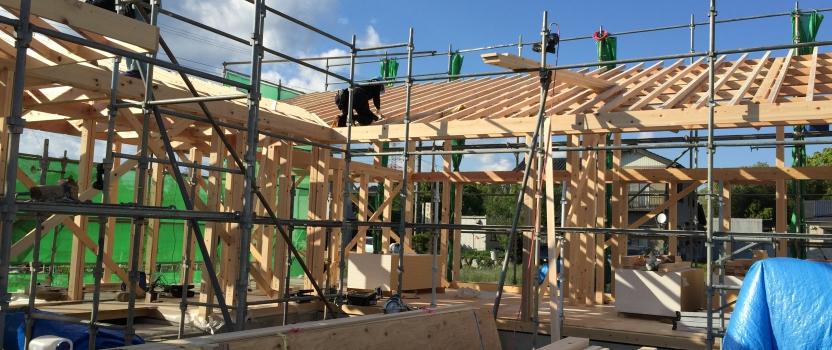 三重県桑名市「七和の家」木造平屋建 上棟