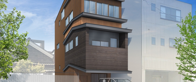岐阜県岐阜市「東材木の家」鉄骨3階建 スキップフロア 狭小敷地 工事が開始します