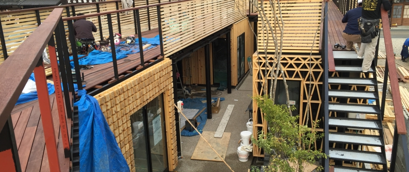 愛知県犬山市「犬山の森マルシェ」商業建築 鉄骨造 現場