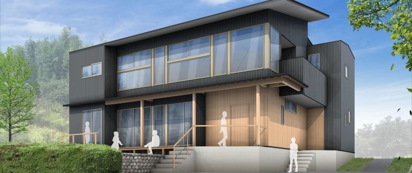 愛知県東海市「大田の家」木造2階建 2世帯住宅 外観パース